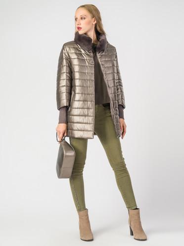Кожаная куртка эко-кожа 100% П/А, цвет коричневый металлик, арт. 13006976  - цена 8490 руб.  - магазин TOTOGROUP