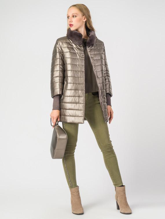 Кожаная куртка эко-кожа 100% П/А, цвет коричневый металлик, арт. 13006976  - цена 7990 руб.  - магазин TOTOGROUP