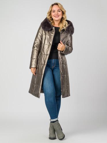 Кожаное пальто эко-кожа 100% П/А, цвет коричневый металлик, арт. 13006978  - цена 11290 руб.  - магазин TOTOGROUP