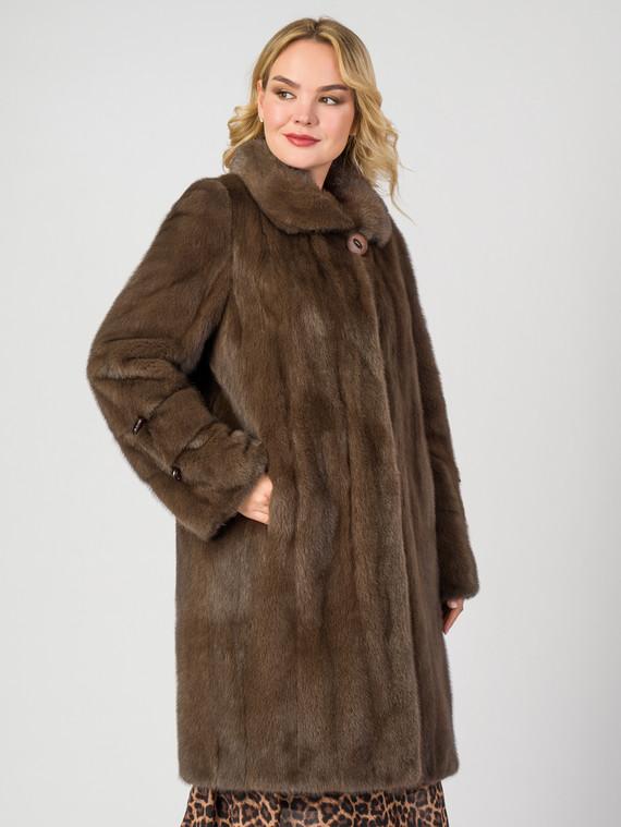 Шуба из норки мех норка, цвет светло-коричневый, арт. 13007141  - цена 79990 руб.  - магазин TOTOGROUP
