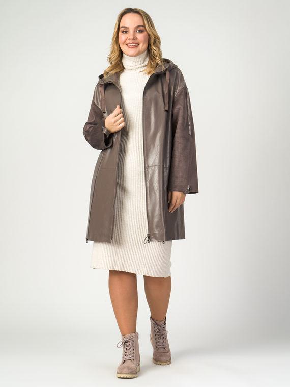Кожаное пальто эко-кожа 100% П/А, цвет коричневый, арт. 13108122  - цена 9490 руб.  - магазин TOTOGROUP