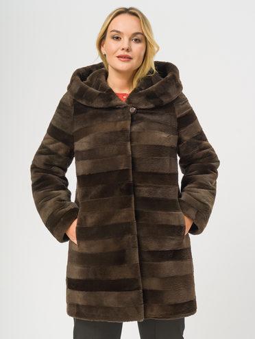Шуба из нутрии мех нутрия, цвет светло-коричневый, арт. 13109658  - цена 19990 руб.  - магазин TOTOGROUP