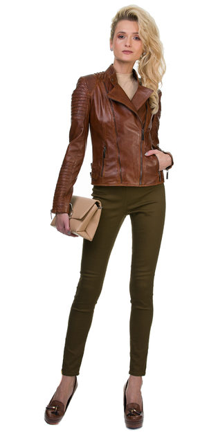 Кожаная куртка кожа овца, цвет светло-коричневый, арт. 13700033  - цена 11990 руб.  - магазин TOTOGROUP