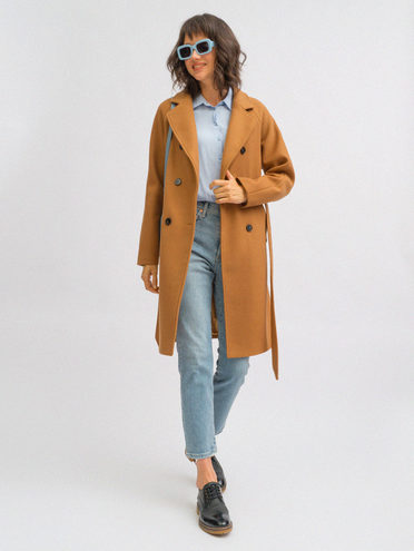 Текстильное пальто 30% шерсть, 70% п.э, цвет светло-коричневый, арт. 13719893  - цена 5890 руб.  - магазин TOTOGROUP