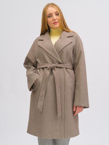 Текстильное пальто 40% шерсть, 30% вискоза, 30% полиамид, цвет светло-коричневый, арт. 13719961  - цена 5890 руб.  - магазин TOTOGROUP