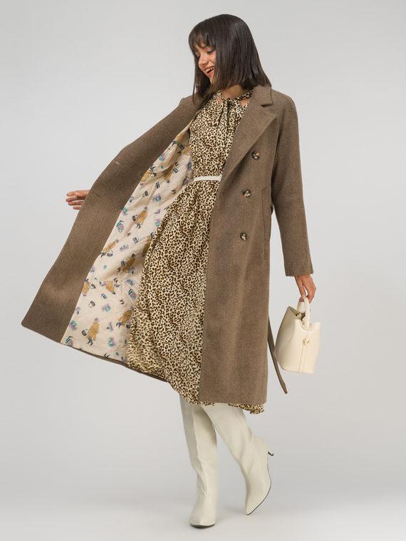 Текстильное пальто 35% шерсть, 65% полиэстер, цвет светло-коричневый, арт. 13810742  - цена 7490 руб.  - магазин TOTOGROUP