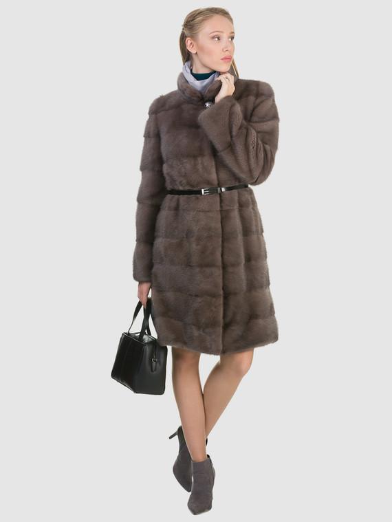 Шуба из норки мех норка, цвет светло-коричневый, арт. 13900800  - цена 84990 руб.  - магазин TOTOGROUP
