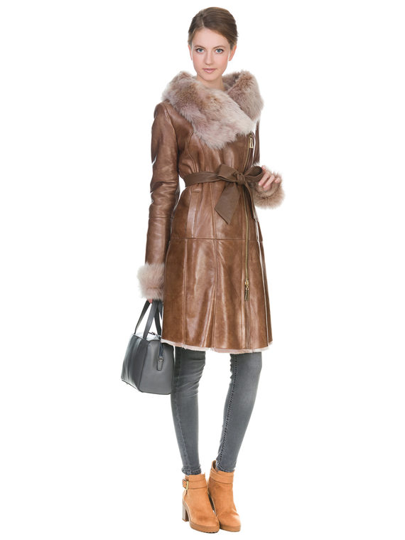 Дубленка дуб. овчина, цвет светло-коричневый, арт. 13900915  - цена 19990 руб.  - магазин TOTOGROUP