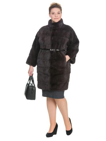 Шуба из норки мех норка, цвет светло-коричневый, арт. 13901055  - цена 105990 руб.  - магазин TOTOGROUP