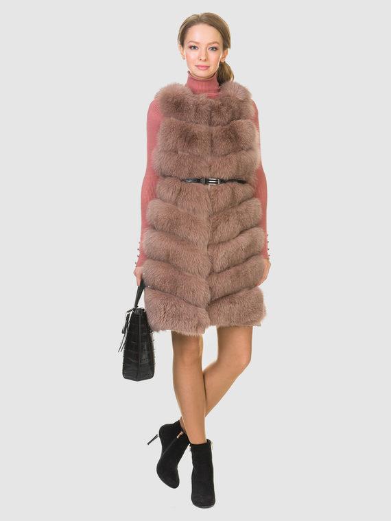 Меховой жилет мех песец, цвет светло-коричневый, арт. 13902720  - цена 17990 руб.  - магазин TOTOGROUP
