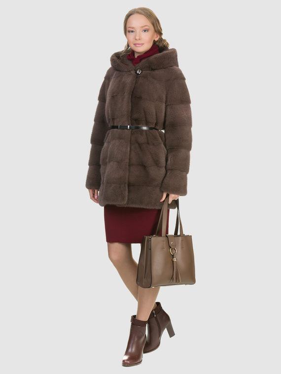 Шуба из норки мех норка, цвет коричневый, арт. 13903396  - цена 105990 руб.  - магазин TOTOGROUP