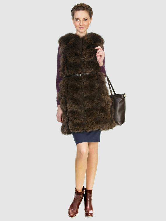 Меховой жилет мех песец, цвет светло-коричневый, арт. 13903476  - цена 11990 руб.  - магазин TOTOGROUP