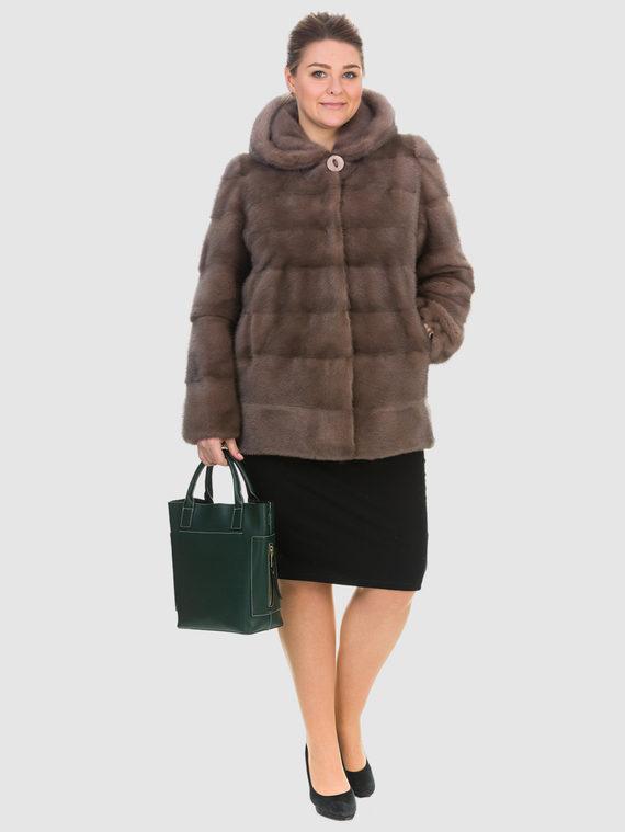 Шуба из норки мех норка, цвет светло-коричневый, арт. 13903591  - цена 105990 руб.  - магазин TOTOGROUP