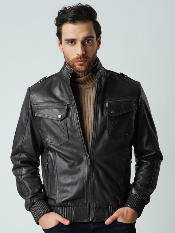 Кожаная куртка кожа , цвет темно-серый, арт. 14003422  - цена 13390 руб.  - магазин TOTOGROUP