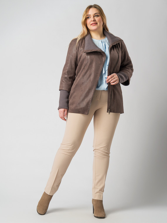 Кожаная куртка эко-замша 100% П/А, цвет коричневый, арт. 14005782  - цена 4490 руб.  - магазин TOTOGROUP