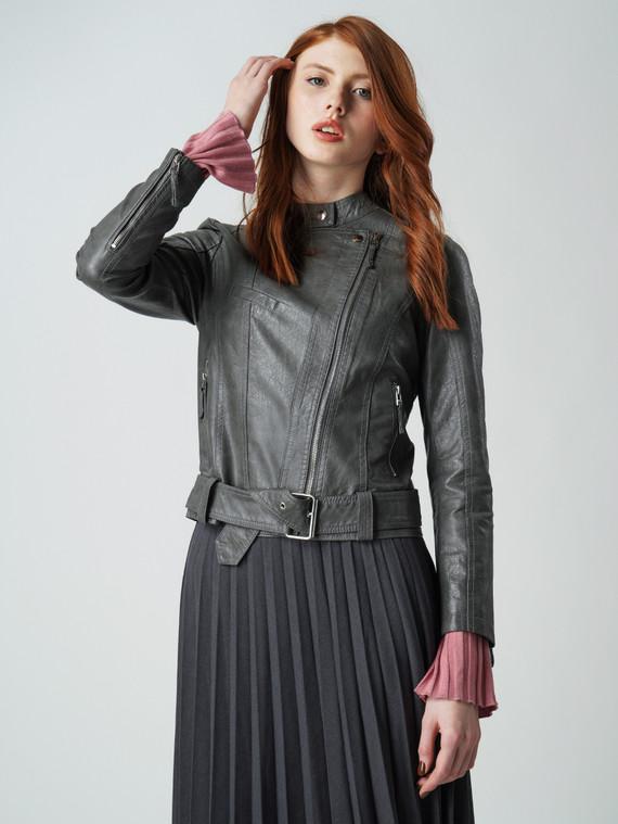 Кожаная куртка эко кожа 100% П/А, цвет серый, арт. 14005786  - цена 3390 руб.  - магазин TOTOGROUP