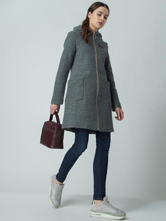 Текстильное пальто 30%шерсть, 70% п\а, цвет серый, арт. 14005827  - цена 3990 руб.  - магазин TOTOGROUP