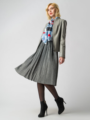 Кожаная куртка кожа, цвет серый, арт. 14005899  - цена 6990 руб.  - магазин TOTOGROUP
