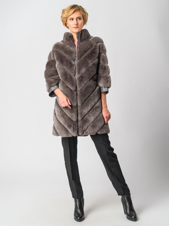 Шуба из кролика мех кролик, цвет коричневый, арт. 14006403  - цена 26990 руб.  - магазин TOTOGROUP