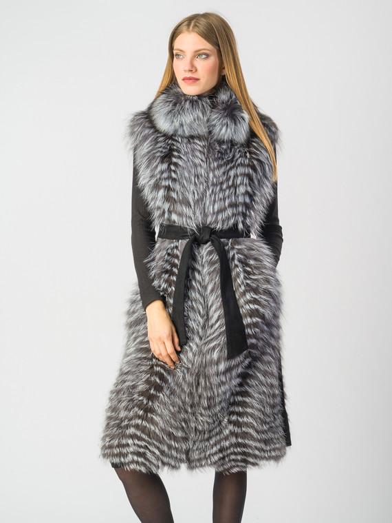 Меховой жилет мех чернобурка, цвет серый, арт. 14006564  - цена 31990 руб.  - магазин TOTOGROUP