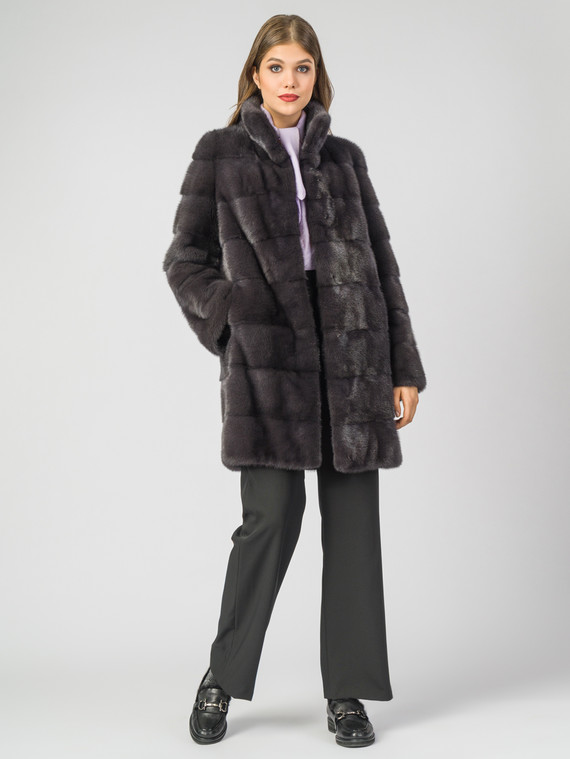 Шуба из норки мех норка, цвет темно-серый, арт. 14006590  - цена 99990 руб.  - магазин TOTOGROUP