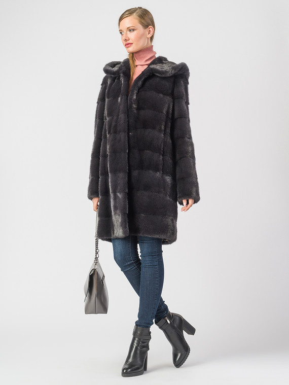 Шуба из норки мех норка, цвет темно-серый, арт. 14006591  - цена 133390 руб.  - магазин TOTOGROUP