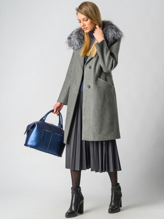 Текстильное пальто 30%шерсть, 70% п\а, цвет светло-серый, арт. 14006601  - цена 7990 руб.  - магазин TOTOGROUP