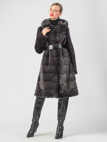Шуба из норки мех норка, цвет темно-серый, арт. 14006645  - цена 126490 руб.  - магазин TOTOGROUP
