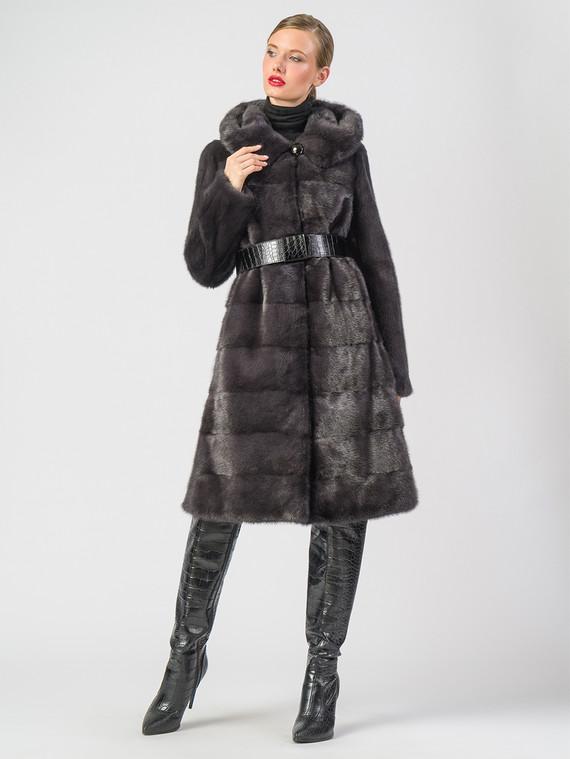 Шуба из норки мех норка, цвет темно-серый, арт. 14006645  - цена 129990 руб.  - магазин TOTOGROUP