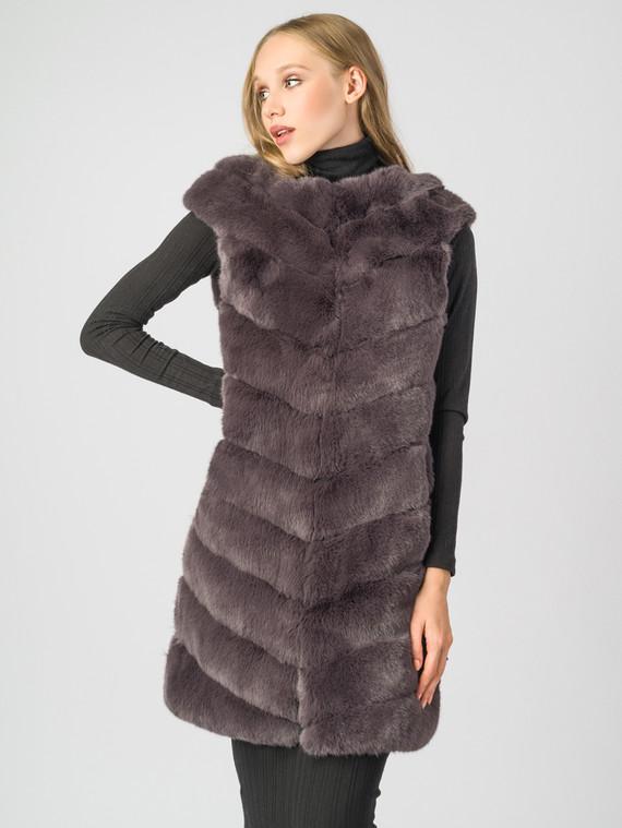Меховой жилет мех под кролика, цвет коричневый, арт. 14006828  - цена 7990 руб.  - магазин TOTOGROUP