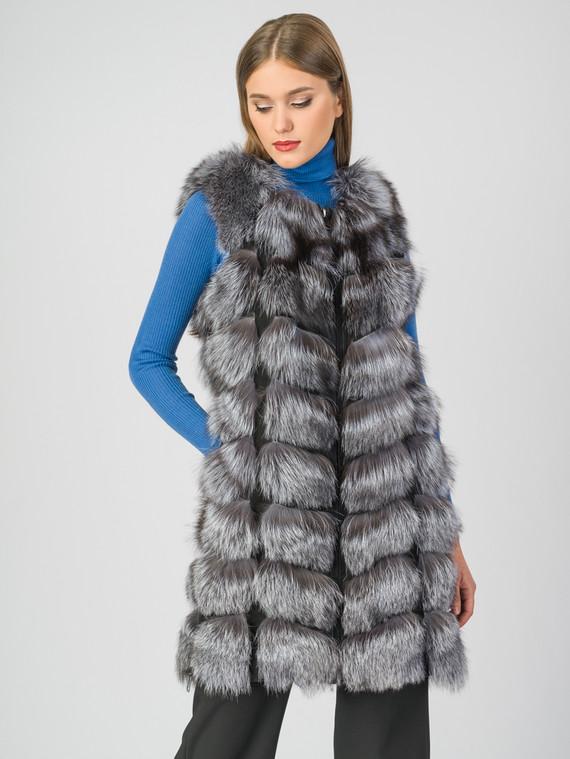 Меховой жилет мех чернобурка, цвет серый, арт. 14007064  - цена 25590 руб.  - магазин TOTOGROUP