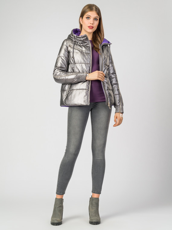Кожаная куртка эко-кожа 100% П/А, цвет серый металлик, арт. 14007113  - цена 4490 руб.  - магазин TOTOGROUP