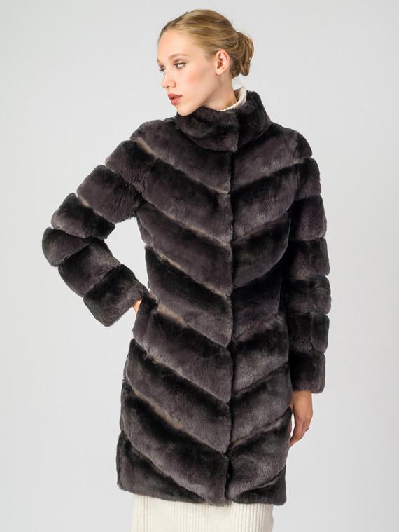 Шуба из кролика мех кролик, цвет серый, арт. 14007224  - цена 33990 руб.  - магазин TOTOGROUP