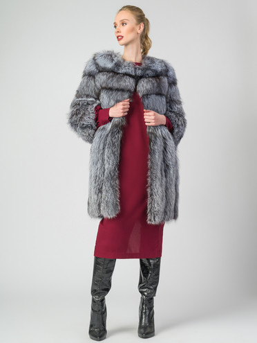 Шуба из чернобурки мех чернобурка, цвет серый, арт. 14007227  - цена 59990 руб.  - магазин TOTOGROUP
