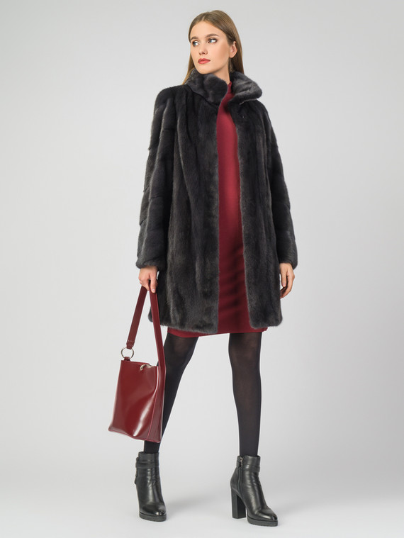 Шуба из норки мех норка, цвет темно-серый, арт. 14007229  - цена 105990 руб.  - магазин TOTOGROUP
