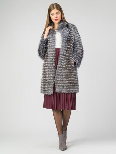 Шуба из чернобурки мех чернобурка, цвет серый, арт. 14007297  - цена 28490 руб.  - магазин TOTOGROUP
