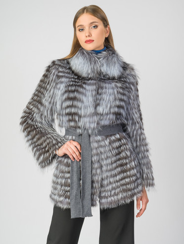 Шуба из чернобурки мех чернобурка, цвет серый, арт. 14007298  - цена 33990 руб.  - магазин TOTOGROUP