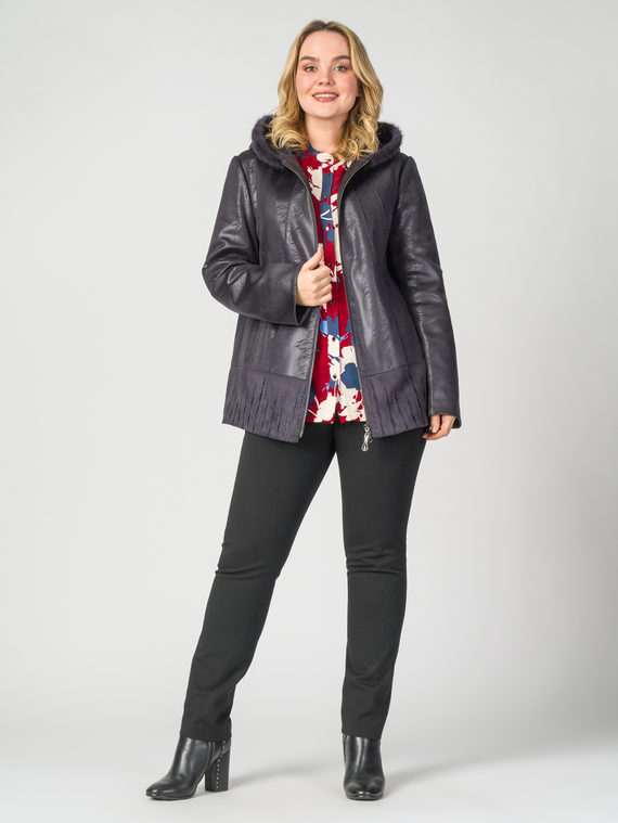 Кожаная куртка эко-замша 100% П/А, цвет фиолетовый, арт. 14108117  - цена 10590 руб.  - магазин TOTOGROUP