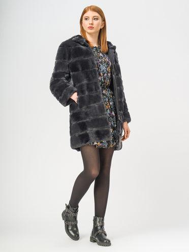 Шуба мех кролик крашеный, цвет серый, арт. 14108998  - цена 23990 руб.  - магазин TOTOGROUP