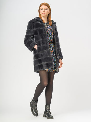 Шуба из кролика мех кролик, цвет серый, арт. 14108998  - цена 31990 руб.  - магазин TOTOGROUP