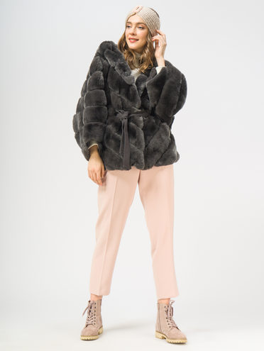 Шуба мех кролик крашеный, цвет серый, арт. 14109289  - цена 23990 руб.  - магазин TOTOGROUP