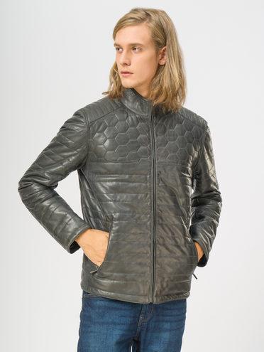 Кожаная куртка кожа, цвет серый, арт. 14109529  - цена 18990 руб.  - магазин TOTOGROUP