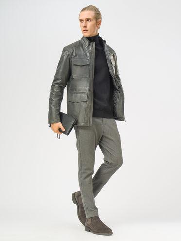 Кожаная куртка кожа, цвет серый, арт. 14109532  - цена 18990 руб.  - магазин TOTOGROUP