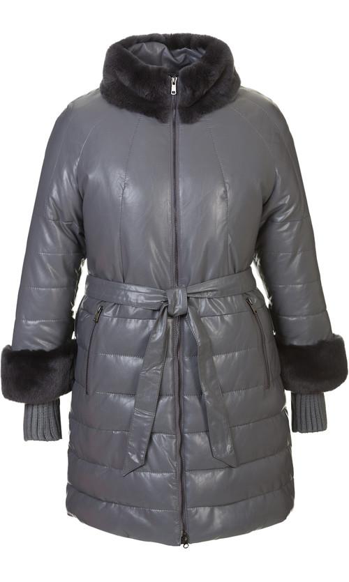 Кожаное пальто артикул 14601941/48 - фото 5
