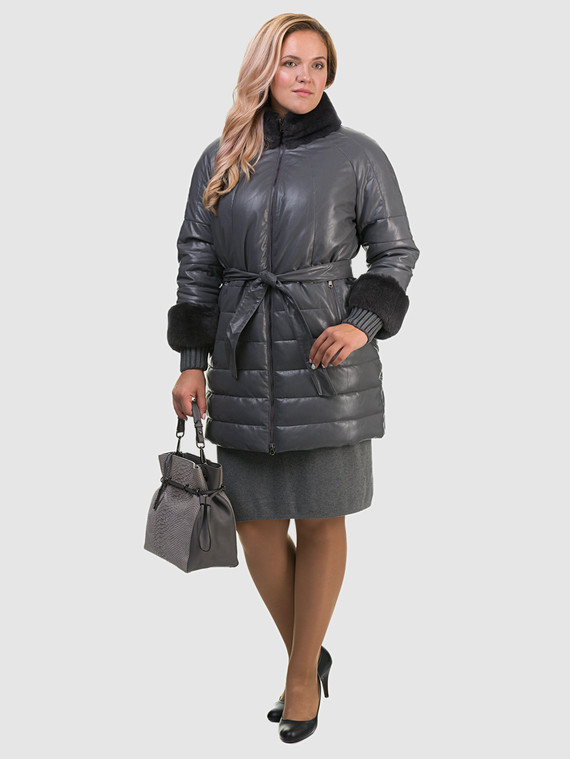 Кожаное пальто эко кожа 100% П/А, цвет серый, арт. 14601941  - цена 7490 руб.  - магазин TOTOGROUP