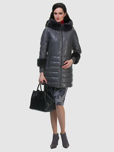 Кожаное пальто эко кожа 100% П/А, цвет серый, арт. 14601942  - цена 7990 руб.  - магазин TOTOGROUP