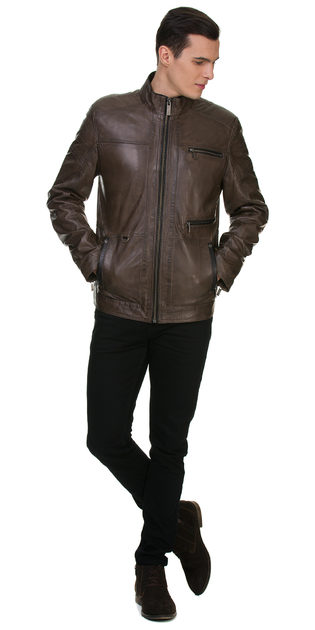 Кожаная куртка кожа овца, цвет серый, арт. 14700061  - цена 15990 руб.  - магазин TOTOGROUP