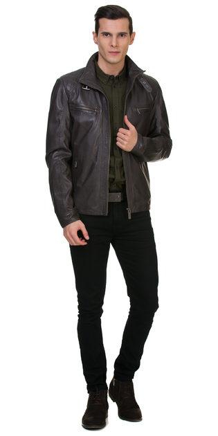Кожаная куртка кожа овца, цвет серый, арт. 14700063  - цена 13990 руб.  - магазин TOTOGROUP