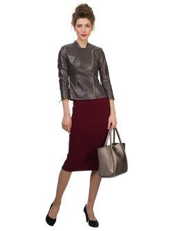 Кожаная куртка кожа овца, цвет серый, арт. 14700115  - цена 12990 руб.  - магазин TOTOGROUP