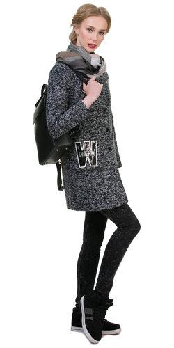 Текстильное пальто 30%шерсть, 70% п\а, цвет серый, арт. 14700408  - цена 3990 руб.  - магазин TOTOGROUP